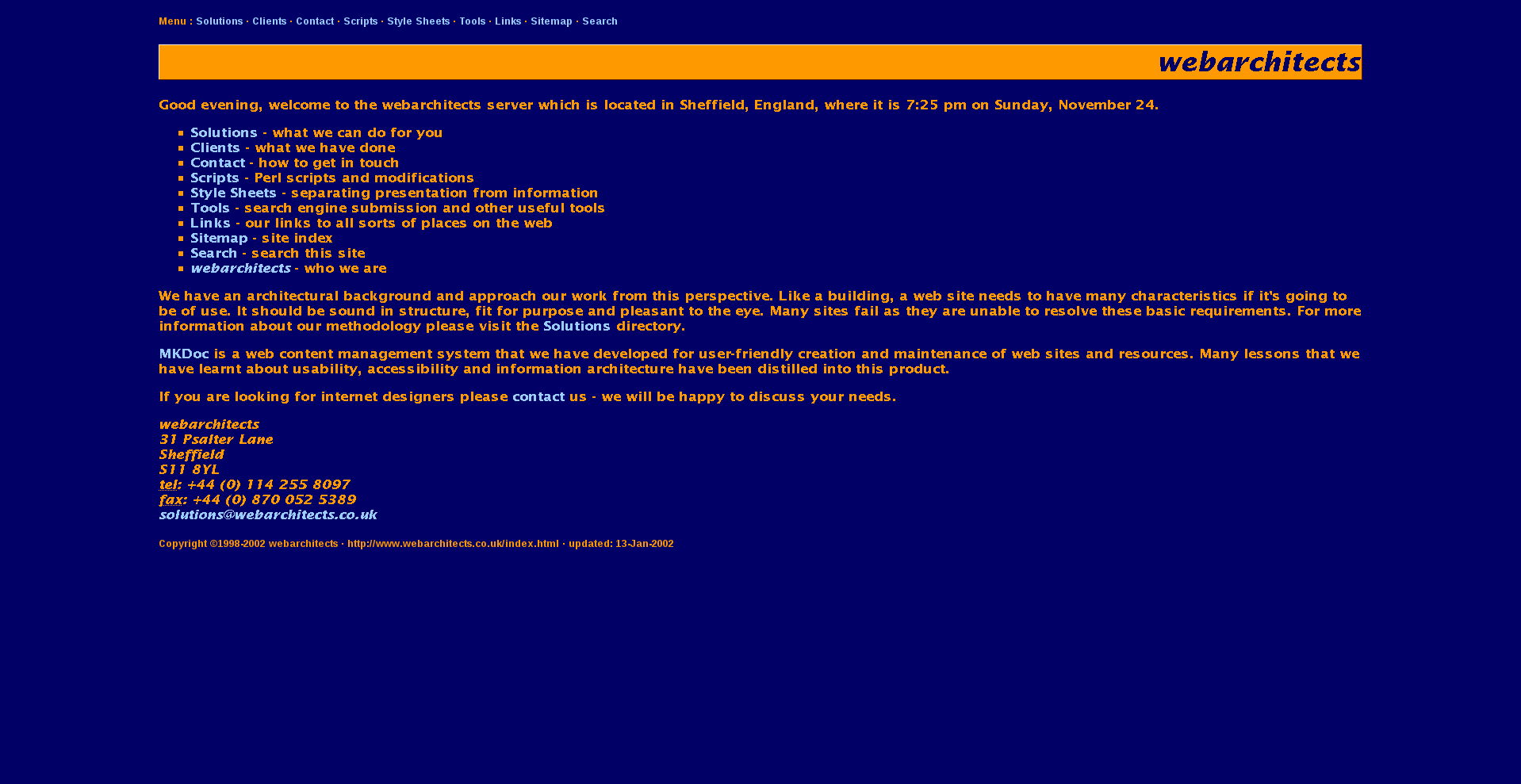 Screenshot of www.webarchitects.co.uk from 2002